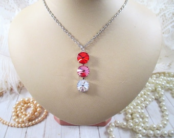 Valentine's necklace/Swarovski crystal pendant necklace/Red White and Pink 3-stone 12mm drop necklace/Crystal Valentine necklace