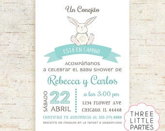 Invitación Baby Shower Conejito,  Invitación Baby Shower Conejita, Boy Bunny Baby Shower, Girl Baby Shower Invitation Printable, Woodland