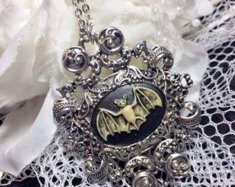 Gothic Jewelry Halloween Morbid Bat Woman Pendant Cameo Necklace Unique Wearable Art