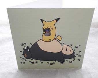Snorlax and Pikachu Card