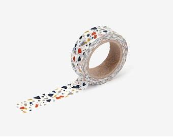 Terrazzo printed Korean washi tape  for scrapbooking, decorations (15mm x 10m)