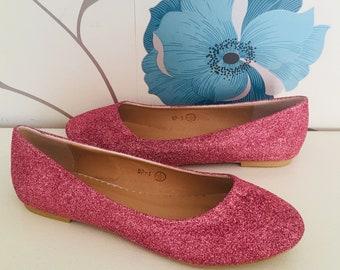 Dusty Pink Glitter Flats - Blush - Bridal Shoes - Personalised - Wedding - Prom - Customised Shoes - Light Pink - UK Size 3-8