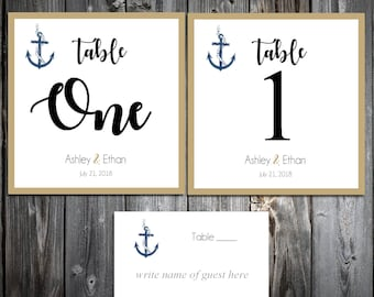 25 Nautical Beach Anchor Wedding Table Numbers and 250 place settings