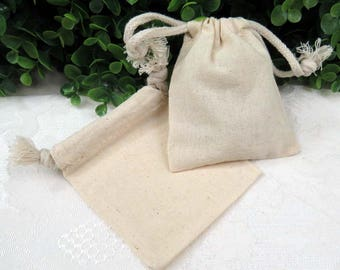 "12 Muslin Drawstring Bags, approximately 3x4"", Unbleached Cotton"