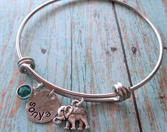 Good Luck Bangle Bracelet - Lucky Mom Nana Bangle-  Personalized Names Birthstones Bracelet - Silver Bangle -Mom Gift Mother's Day Gift -B28