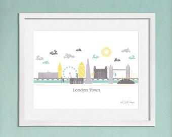 London Skyline / London Print / London Art / Gift For Travelers / Travel Gift / Travel Art / New Home Gift / London Gift / Retro London