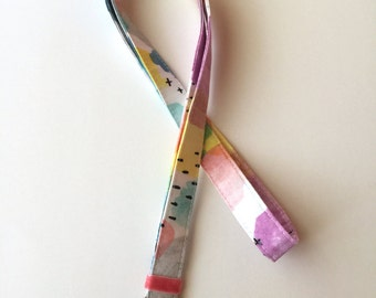 Lanyard - Watercolors - Colorful Lanyard - Teachers Lanyard - Fabric Neck Lanyard - Colorful Key FOB - Lanyard