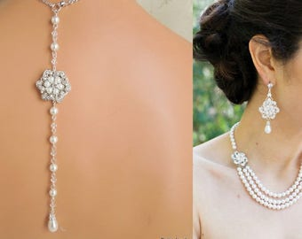 pearl and crystal necklace, bridal necklace, pearl necklace, Wedding Rhinestone necklace, bridal rhinestone necklace, bridal jewelry, AMELIA