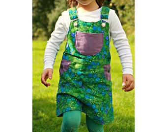 Girl Dress Pinafore sewing pattern Pdf, BLOOMY Skirt Dungaree Overall Jumper, Girl toddler, size 3 4 5 6 7 8 9 10 yrs Instant Download