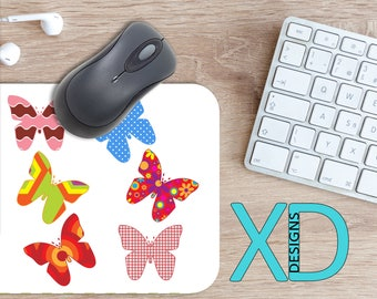 Butterfly Mouse Pad, Butterfly Mousepad, Patch Rectangle Mouse Pad, Rainbow, Patch Circle Mouse Pad, Butterfly Mat, Computer, Mixed Pattern