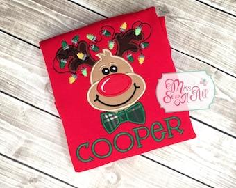Boys Reindeer Shirt, Boys Reindeer Top, Custom Reindeer Shirt, Boys Christmas Shirt