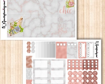 Rose Gold Obsession |Erin Condren Classic Happy Planner kit |MINI Base Weekly Planner Sticker Kit |Premium Matte |Glossy | marble succulents