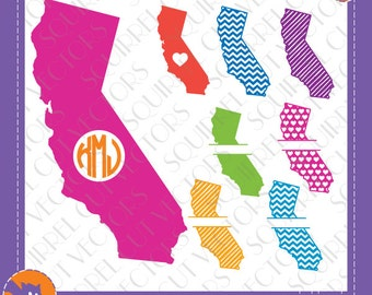 8 California State Shapes, Patterns and Monogram Splits SVG DXF EPS Cutting files