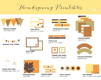Thanksgiving Decorations - Printable Party Pack - Instant Download - Thanksgiving Printables -Thanksgiving Party Supplies