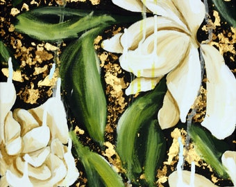 Gardenias Flowing Down III, Original Floral Painting with Gold Foil