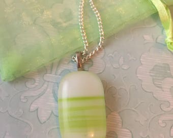 Delicate two toned green and white fused glass pendant necklace.