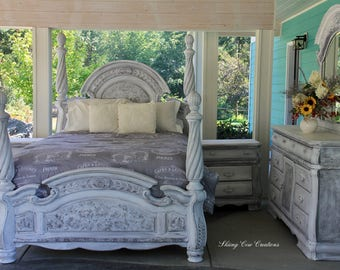Magnificent Queen Bedroom Set, 4 Poster Bed, Solid Wood Heavy Dresser With  Beveled Mirror
