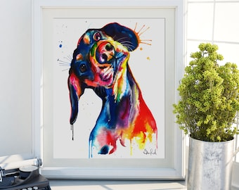 Colorful Dachshund/Wienerdog Watercolor Print - Art Print of my Original Painting (FREE Shipping)