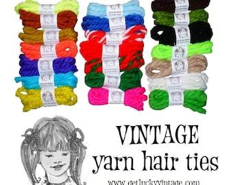 Oh So Retro! Vintage Yarn Hair Ties Yarn Hair Ribbons Easter Basket Stuffer Girl Birthday Party Favors Cheerleader