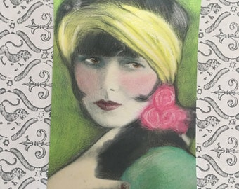 1920's Vintage Gatsby Silent Film Flapper Louise Brooks Pink Art