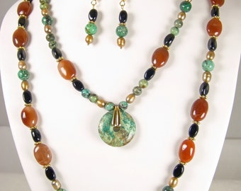 Aztec Splendor - riches in natural Turquoise, Pearls and Jasper