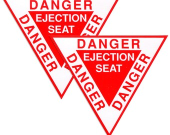 Ejection Seat Stickers, Set of 2 or Set of 5, Red & White Triangle, Weatherproof Vinyl