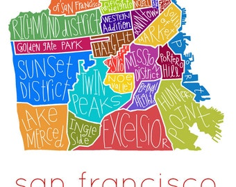 San Francisco City Map Neighborhood hand-drawn print