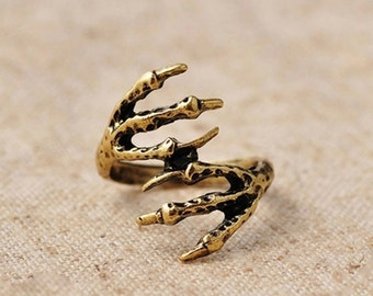 4 Golden Claw Punk Dreadlock Beads Set for Necklace Pendant, Bracelet or any DIY Beading Craft