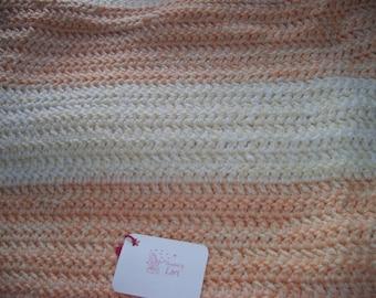 Handmade Crocheted Peach & Cream blanket