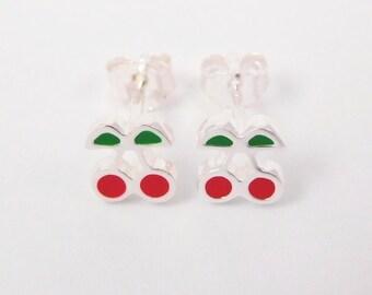 Cherry earrings silver