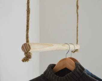 Handmade, Natural Wood, Hanging Rail