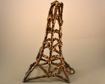 Eiffel Tower - string sculpture - matte gold  yarn dipped in casting slip - yarn sculpture - string sculpture