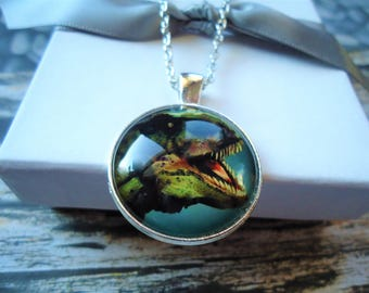 Tyrannosaurs Rex Silver Glass Necklace or Key-chain - Dinosaur, Reptile, Predator, Fossil, Science, Jurassic Park, Claws, Teeth