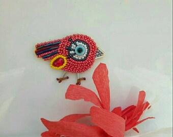 bird beaded brooch