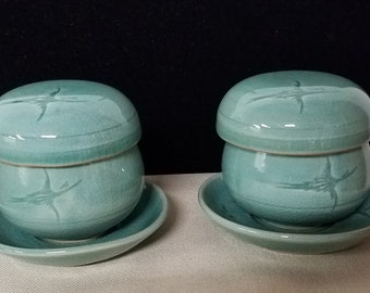 Vintage Pair of Korean Celadon Tea Cups with Saucer, Lid, and Infuser