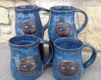 Dragonfly Mug on Dark, wheel thrown Stoneware with Rutile Blue Glaze. Set of Four