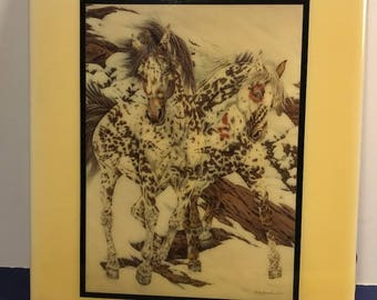 1991 JUDY LARSON ARTWORK Crow Ponies horses southwestern art decorative ceramic tile textile wildlife artist clay coated board spotted usa