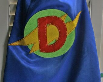 Superhero Costume-Perfect Christmas Gift-PERSONALIZED BLUE Boys Superhero Cape - Choose the Initial - Superhero Birthday Party