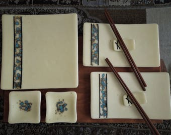 6 piece fused glass sushi set