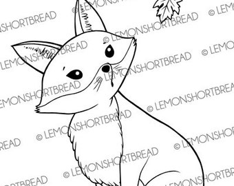Digital Stamp Autumn Fox, Digi Download, Fall Clip Art, Maple Leaf Leaves, Cute Pets Animals, Card Making Scrapbooking Supplies