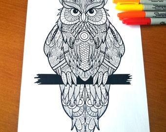 Owl Adult Zentangle Coloring Sheet