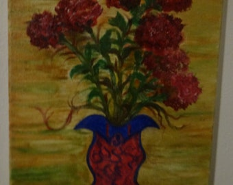 Flowers, Carnation, blue collar vase, unique,