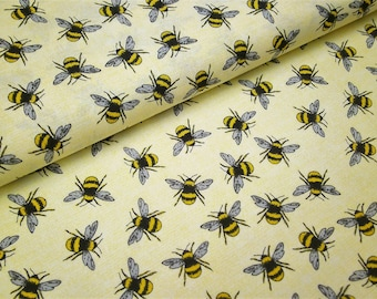 "0,5 m printed cotton fabric ""Bee Happy"" bee  114 cm w."