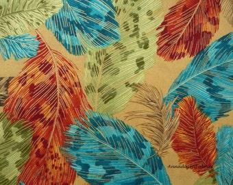 Metallic Feather Fabric, Robert Kaufman 13697 Crescendo, Studio RK, Peacock Blue & Teal, Olive, Rust, Maroon, Feather Quilt Fabric, Cotton