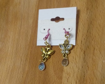Sparkly butterfly crystal earrings