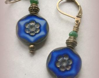 Czech Picasso Cobalt Blue earrings