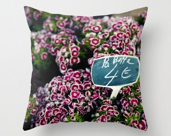 decorative throw pillow, flower photography, purple home decor, french flower market, pillow cover, nature, spring decor