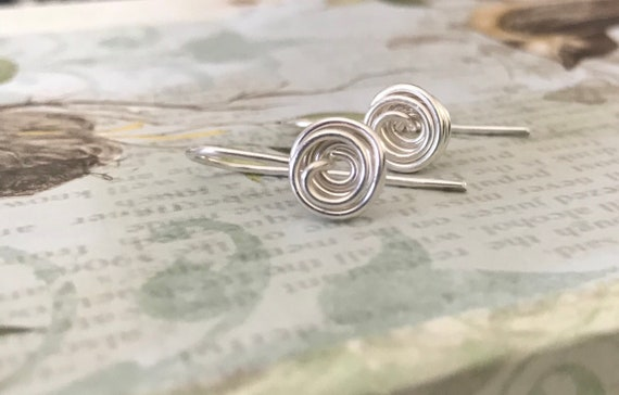 Mini fine silver circles, Simple earrings,  round, rose shape, circle, flower, everyday pierced ear wear
