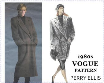 1980s Coat Sewing Pattern - Vogue American Designer 1935 - Perry Ellis - Misses Coat, Loose, A-Line, Double Breasted - Size 12 Bust 34