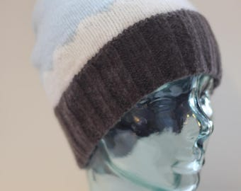 Teen adult cloud scallop design hat beanie toque merino/cashmere blue white and bison brown